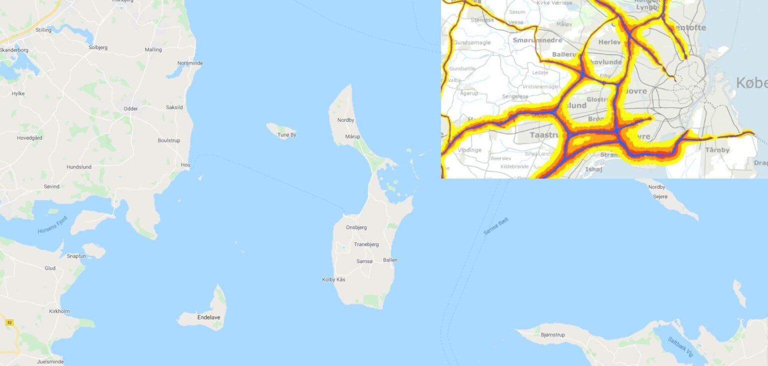 Støjkort over Samsø m motorvej