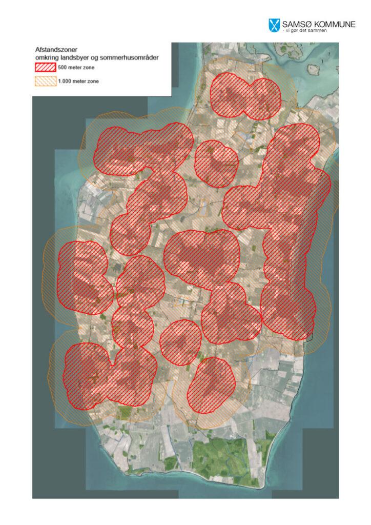 Samsøs landsbyer m afstandszoner 500 og 1000 m